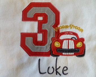 Personalized Baby Boy 1st Birthday Shirt, or one piece, Varsity Cars