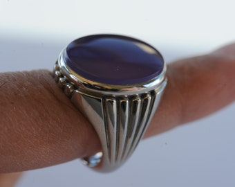 Natural Purple Chalcedony Ring