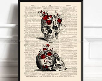 Floral Skull, Husband Wife Gift, Skulls Lover Gift, Sugar Skull Poster, Dark Goth Gift, Skull Book Page, Coworker Man Gift, Funny Dorm  515