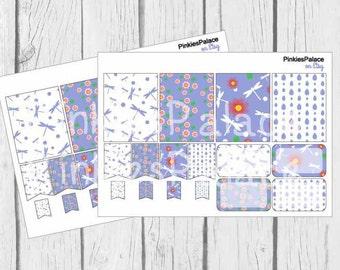 16 Planner Stickers Scrapbook Stickers Dragonfly Flowers Stickers eclp PS152 Fits Erin Condren