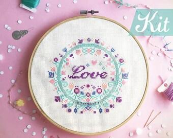Floral Cross stitch KITs , Modern cross stitch kit, Flower cross stitch, Embroidery kits, DIY kits - Floral with Love / smile / Joy