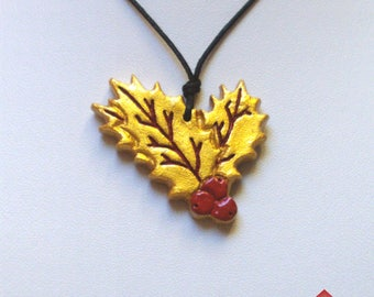 Pendant Holly, clay, red and gold, holly leaf, holly berries, Yule symbol, druid, druidic symbol, winter solstice, winter jewelry, Xmas