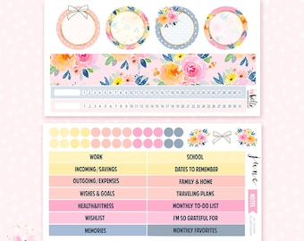 June Notes Page Kit - 2 sheets / for the Erin Condren planner notes pages
