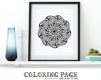 Instant Download Coloring Page Floral Mandala Doodle Printable Adult Coloring Pages Anti Stress Art Therapy Zentangle DIY Printable Wall Art