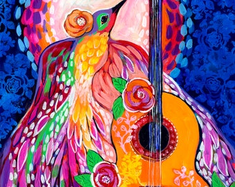 Let the Music Rise ORIGINAL Painting on 20x26 Yupo paper by JENLO