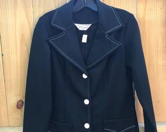 Ladies Black Mod Vintage Jacket Blazer Made by NPC Fashions Circa 70s