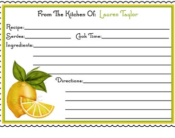 Personalized Recipe Cards, Sweet Lemons, Kitchen, Cooking, Baking, Set of 12 Recipe cards