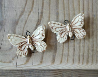 Two Large Ceramic connector -pendant Butterfly.Ceramic handmade