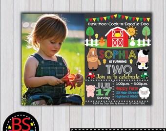 FARM BIRTHDAY Invitation, Farm Birthday Party invitation, Farm Party invite, Barnyard birthday party, Farm birthday chalkboard
