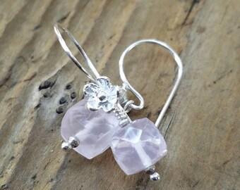 Rose Quartz Cube Earrings and Hill Tribe Silver, Rose Quartz Jewelry, Pierced Earrings, Artisan Jewelry, Sterling Silver Flower Earrings