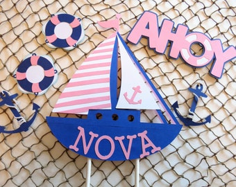 Personalized Sailboat Cake Topper Set, Nautical Theme Party, Nautical Baby Shower