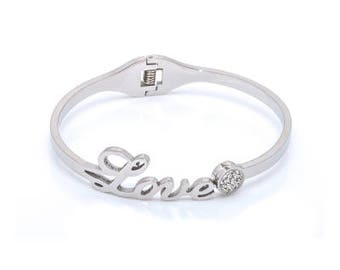 Stainless Steel Silver plated love bracelet