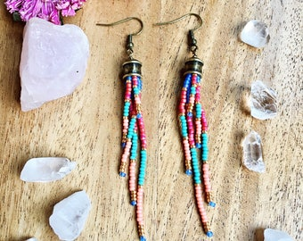Long Dangly Seed Bead Earrings, Fringe Seed Bead Earrings, Boho Beaded Earrings, Tassel Seed Bead Earrings