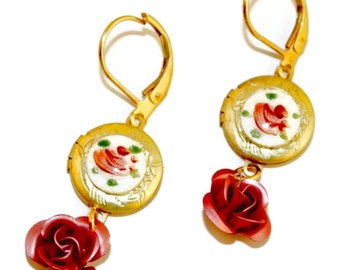 Pink Rose Guilloche Locket Earrings