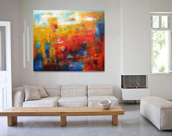 Modern Abstract painting, wall art giclee print, XL art poster print on canvas or paper, red and turquoise abstract artwork,30x40 canvas art