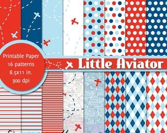 PRINTABLE Little Aviator • 8.5x11 Digital Paper Pack • INSTANT DOWNLOAD