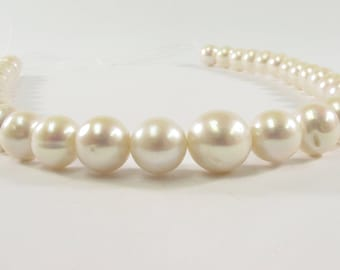 12-14 mm AA Graduated Natural White Potato Freshwater Pearls,  Genuine Natural Pearl Beads, Lustrous White Cultured Pearls (199-PWG1214)