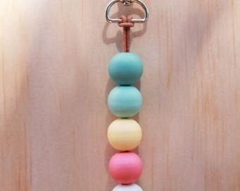 Eucalyptus wooden bead key chain