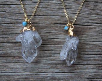 Gold Clear Quartz Necklace