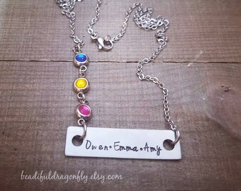 Personalized Stainless Steel Mommy, Bar Necklace with Birthstones. Up to three small names and up to three birthstones.