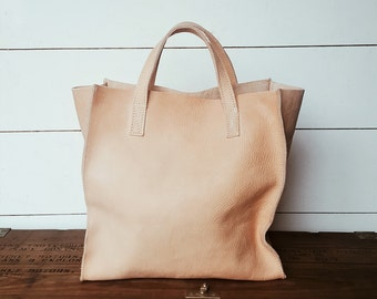 Leather Tote Bag - Nat Veg Tanned Leather - Leather Goods