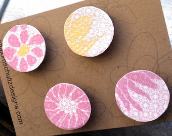 Magnets, Set of 4, Raised, Paper, Decoupage, Flower, Floral, Art, Graphic, Pattern, Pink, Yellow, Hot, Light