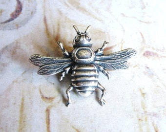 Bumble Bee - Antiqued Silver Plated Bee Brooch, Lapel Pin or Tie Pin Tie Tack with Gift Box