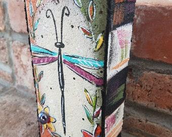 Garden Brick, Painted Brick, Dragonfly