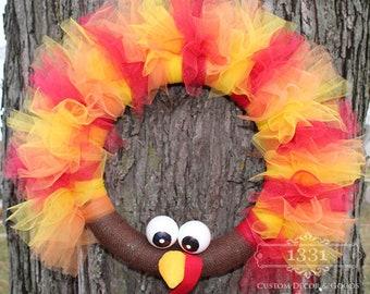 Thanksgiving Wreath, Turkey Wreath, Tulle Turkey Wreath, Gobble Gobble, Fall Wreath, Tom the Turkey, Thanksgiving Turkey Wreath,