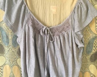 Plus Size XLG/Gray Soft & Comfy Cotton Pleasant Blouse