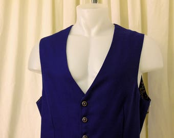 Wool Victorian Weskit, Western Vest, Steampunk Cosplay, Single Breasted Vest in Royal Blue w/ Cotton Calico Lining, Size 44R