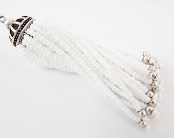 Long White Beaded Tassel - Matte Silver Plated Brass - 1PC