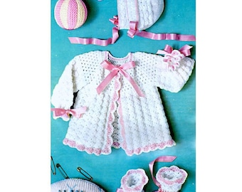 Vintage Crochet Pattern PDF  Baby Matinee Set  Jacket Bonnet and Booties  Plus Knitting Pattern Baby Toys  Cardigan Coat Hat