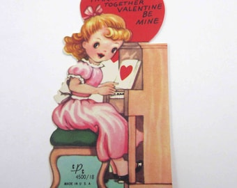 Vintage Children's Novelty Valentine with Cute Girl in Pink Dress Playing Piano and Singing
