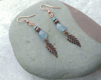 Aquamarine earrings, light blue earrings, something blue, feather earrings, march birthstone, mothers day gift, copper and blue, bridal gift