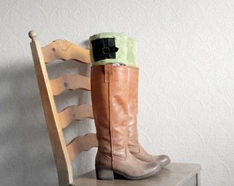 Green Leg Warmers Boho Boot Cuffs Black Buckle Upcycled Boot Liners Bohemian Clothing Women's Boot Socks Eco Fashion 'GEORGIE'