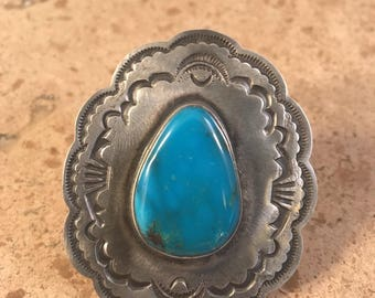Tommy Jackson Morenci Turquoise & Sterling Ring Size 8 Signed