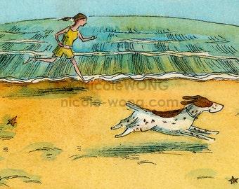 ACEO Print -- Run along the Beach