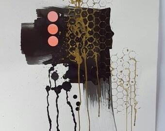 Hexagon splash //geometric abstract art // original// housewarming // wall art