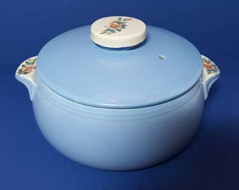 "Vintage Hall ""Rose Parade"" Tab Handled Casserole with Cover 1940's"