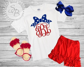 4th of July Bow and Monogram shirt for girls // 4th of July girls Shirt // Patriotic Kids Shirt // Red White and Blue // USA shirt