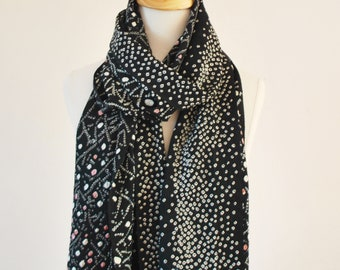 Vintage silk kimono Scarf with  hand Tie dye and pink dot