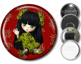 China Girl Pocket Mirror, Magnet, Bottle Opener Key Ring, Pin Back Button, Chinese Girl, Red, Keychain, Chinese Gift, Script, Oriental Gift