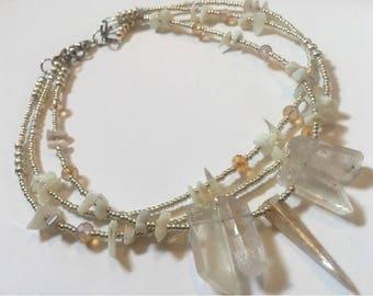 White Opal and Clear Quartz Choker