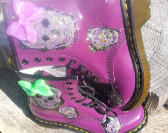 SOLD Size 7 Purple Doc Martin's With Green Glitter Skulls and Bows and Rhinestone Backs SOLD