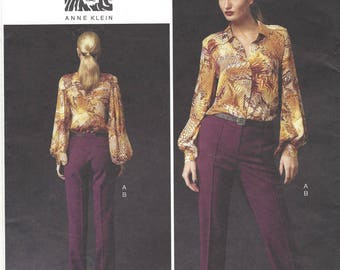Anne Klein Womens Raglan Sleeve Blouse and Contour Waist Pants OOP Vogue Sewing Pattern V1366 SIze 8 10 12 14 16 Bust 31 1/2 to 38 FF