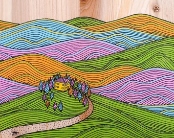 Mountain print nature illustration landscape painting, modern illustration print colorful art kids room art children print acrylic painting
