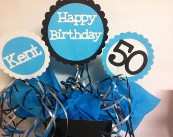 50th Birthday Table Decorations 3 Piece Sign Set with Personalized Text and Party Display Tray
