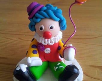 Handmade Polymer Clay Clown Birthday Cake Topper