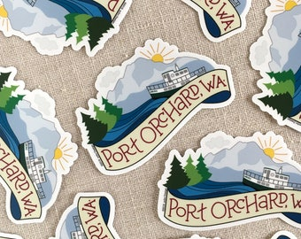 Port Orchard Washington Vinyl Sticker, Water Bottle Sticker, Laptop Sticker, PNW Illustrated Sticker, Carlisle Foot Ferry, Olympic Mountains